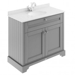 Old London Storm Grey Traditional 1000mm Cabinet With White Marble Basin Top 1TH