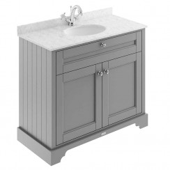 Old London Storm Grey Traditional 1000mm Cabinet With Grey Marble Basin Top 1TH
