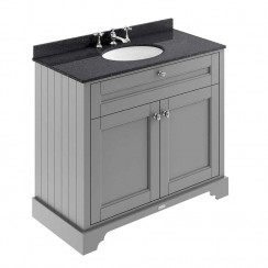 Old London Storm Grey Traditional 1000mm Cabinet With Black Marble Basin Top 3TH