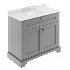 Old London Storm Grey Traditional 1000mm Cabinet With White Marble Basin Top 3TH