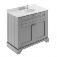 Old London Storm Grey Traditional 1000mm Cabinet With Grey Marble Basin Top 3TH