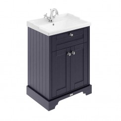 Old London Twilight Blue Traditional 600mm Cabinet With Ceramic Basin 1TH