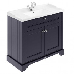 Old London Twilight Blue Traditional 1000mm Cabinet With Ceramic Basin 1TH