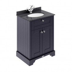 Old London Twilight Blue Traditional 600mm Cabinet With Black Marble Basin Top 1TH