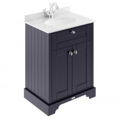 Old London Twilight Blue Traditional 600mm Cabinet With White Marble Basin Top 1TH