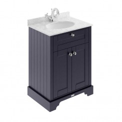 Old London Twilight Blue Traditional 600mm Cabinet With Grey Marble Basin Top 1TH