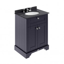Old London Twilight Blue Traditional 600mm Cabinet With Black Marble Basin Top 3TH