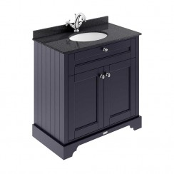 Old London Twilight Blue Traditional 800mm Cabinet With Black Marble Basin Top 1TH