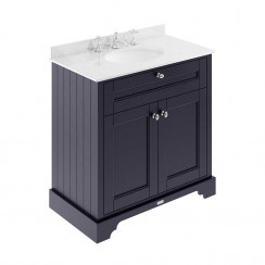 Old London Twilight Blue Traditional 800mm Cabinet With White Marble Basin Top 3TH