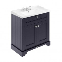 Old London Twilight Blue Traditional 800mm Cabinet With Ceramic Basin 3TH