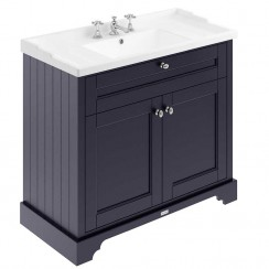 Old London Twilight Blue Traditional 1000mm Cabinet With Ceramic Basin 3TH