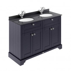Old London Twilight Blue Traditional 1200mm Cabinet With Black Marble Double Basin Top 1TH