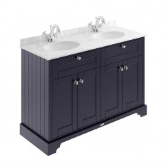 Old London Twilight Blue Traditional 1200mm Cabinet With Grey Marble Double Basin Top 1TH