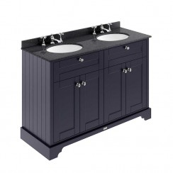 Old London Twilight Blue Traditional 1200mm Cabinet With Black Marble Double Basin Top 3TH