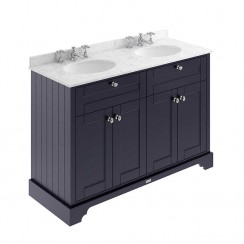 Old London Twilight Blue Traditional 1200mm Cabinet With Grey Marble Double Basin Top 3TH