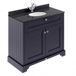 Old London Twilight Blue Traditional 1000mm Cabinet With Black Marble Basin Top 1TH