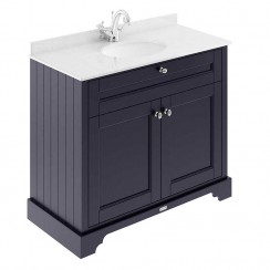 Old London Twilight Blue Traditional 1000mm Cabinet With White Marble Basin Top 1TH