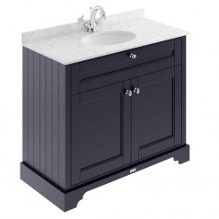Old London Twilight Blue Traditional 1000mm Cabinet With Grey Marble Basin Top 1TH