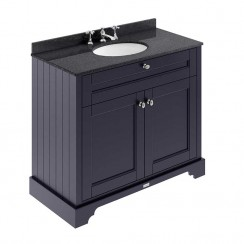 Old London Twilight Blue Traditional 1000mm Cabinet With Black Marble Basin Top 3TH