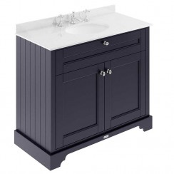 Old London Twilight Blue Traditional 1000mm Cabinet With White Marble Basin Top 3TH