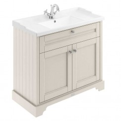Old London Timeless Sand Traditional 1000mm Cabinet With Ceramic Basin 1TH