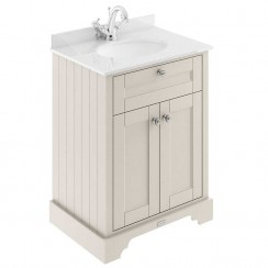Old London Timeless Sand Traditional 600mm Cabinet With White Marble Basin Top 1TH