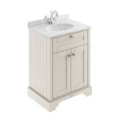 Old London Timeless Sand Traditional 600mm Cabinet With Grey Marble Basin Top 1TH