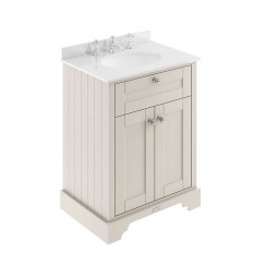 Old London Timeless Sand Traditional 600mm Cabinet With White Marble Basin Top 3TH