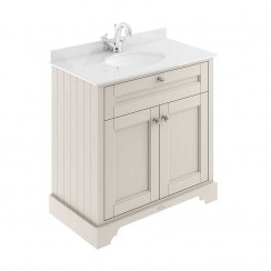 Old London Timeless Sand Traditional 800mm Cabinet With White Marble Basin Top 1TH