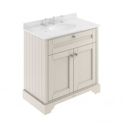 Old London Timeless Sand Traditional 800mm Cabinet With White Marble Basin Top 3TH