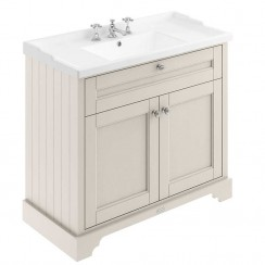 Old London Timeless Sand Traditional 1000mm Cabinet With Ceramic Basin 3TH