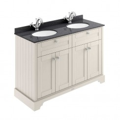 Old London Timeless Sand Traditional 1200mm Cabinet With Black Marble Double Basin Top 1TH