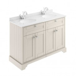 Old London Timeless Sand Traditional 1200mm Cabinet With White Marble Double Basin Top 1TH