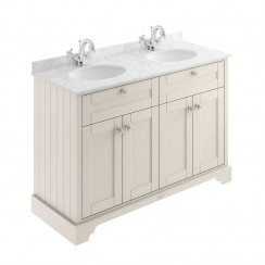 Old London Timeless Sand Traditional 1200mm Cabinet With Grey Marble Double Basin Top 1TH