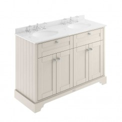 Old London Timeless Sand Traditional 1200mm Cabinet With White Marble Double Basin Top 3TH
