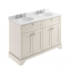 Old London Timeless Sand Traditional 1200mm Cabinet With Grey Marble Double Basin Top 3TH