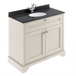 Old London Timeless Sand Traditional 1000mm Cabinet With Black Marble Basin Top 1TH