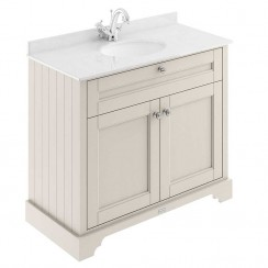 Old London Timeless Sand Traditional 1000mm Cabinet With White Marble Basin Top 1TH