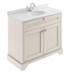 Old London Timeless Sand Traditional 1000mm Cabinet With Grey Marble Basin Top 1TH
