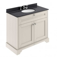 Old London Timeless Sand Traditional 1000mm Cabinet With Black Marble Basin Top 3TH