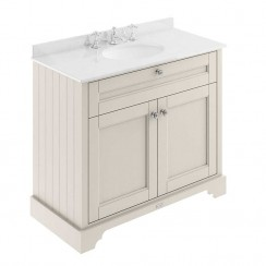 Old London Timeless Sand Traditional 1000mm Cabinet With White Marble Basin Top 3TH