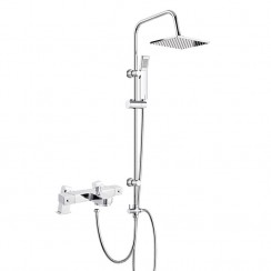 Square Thermostatic Bath Shower Mixer Tap with 3 Way Square Rigid Riser Rail Kit