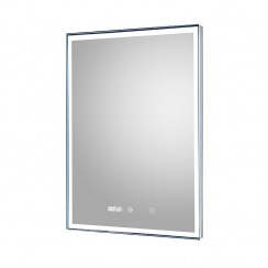 Lustre 500mm LED Touch Sensor Bathroom Mirror with Clock & demister Pad
