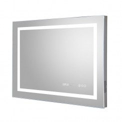 Prisma 800mm LED Touch Sensor Bathroom Mirror with Clock, demister Pad and Bluetooth Connectivity