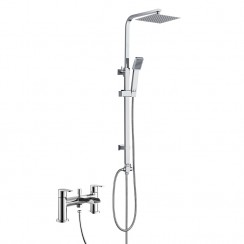 Ludlow Bath Shower Mixer Tap with 3 Way Round Rigid Riser Rail Kit 1