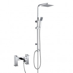 Madena Bath Shower Mixer Tap with 3 Way Square Rigid Riser Rail Kit