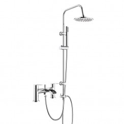Malibu Bath Shower Mixer Tap with 3 Way Round Rigid Riser Rail Kit