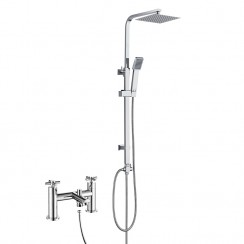 Mayfair Bath Shower Mixer Tap with 3 Way Square Rigid Riser Rail Kit