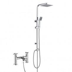 Mayfair Bath Shower Mixer Tap with 3 Way Square Rigid Riser Rail Kit