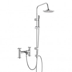 Mayfair Bath Shower Mixer Tap with 3 Way Round Rigid Riser Rail Kit